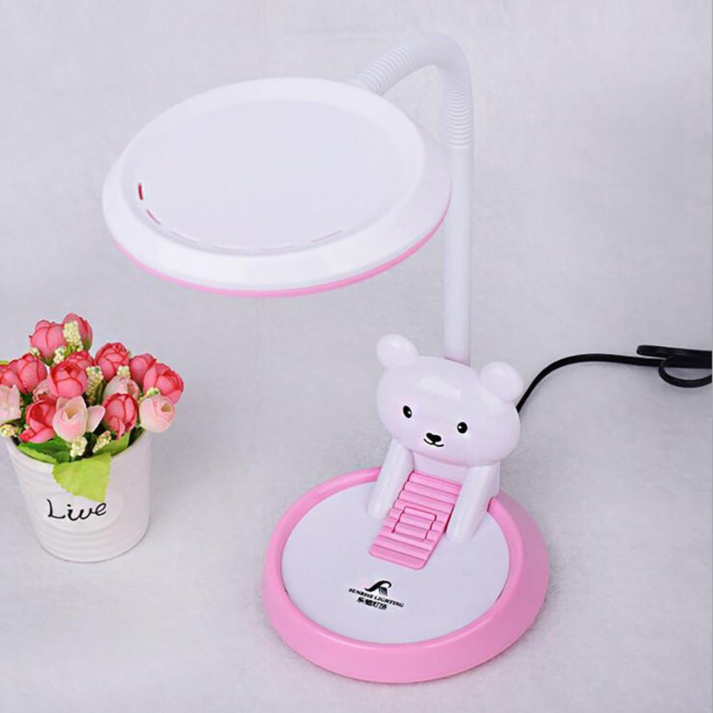 Desk Lamps Table Lamp LED Creativity Table Lamps Student Learn Plug In Lamp Lovely Cartoon Child Eye Protection LED Desk Lamp New (powder)