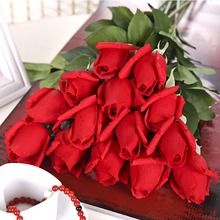 artificial fakes plastic flower single rose for wedding decoration