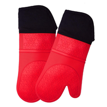 Extra Long waterproof Silicone Oven Mitt  1 Pair  Oven Mitts with Quilted Liner