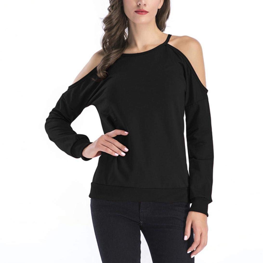 Pervobs Women T-Shirt, Big Promotion! Women's Casual Loose Long Sleeve Cold Shoulder Tops Halter Thin Shirts Blouse