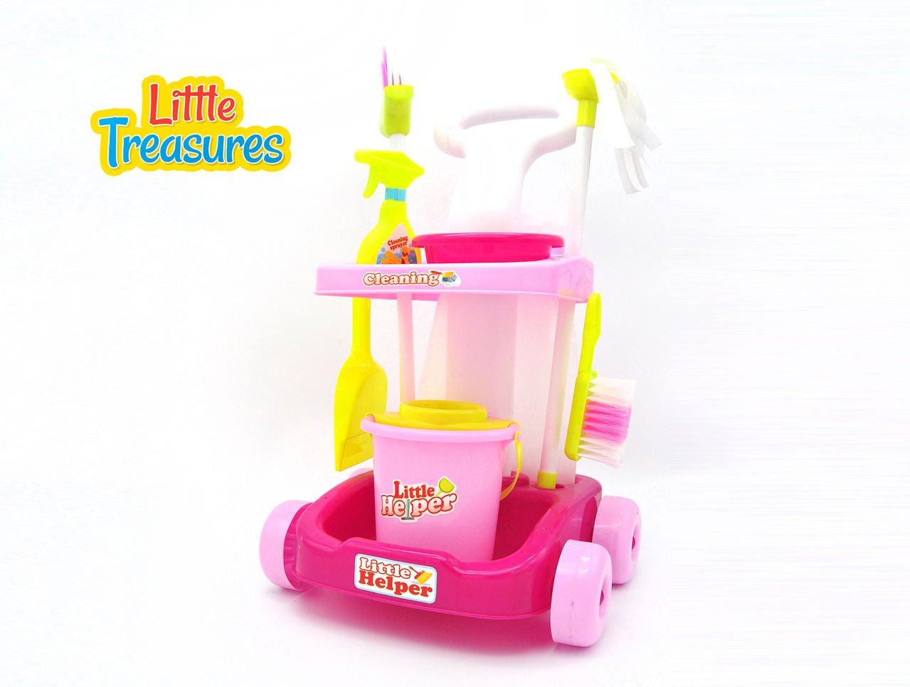 Little Helper cleaning play set from Little Treasures – Complete with cleaning-cart, mop, bucket, broom, cleaning sprayer, soap, hand-broom, dustpan, and tub –play set toy for children