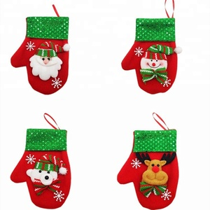 Gloves Shape Cutlery Bag Christmas Decoration 6pcs Candy Knives & Forks Gift Bags Christmas Cutlery Pouches Xmas Cutlery Bag