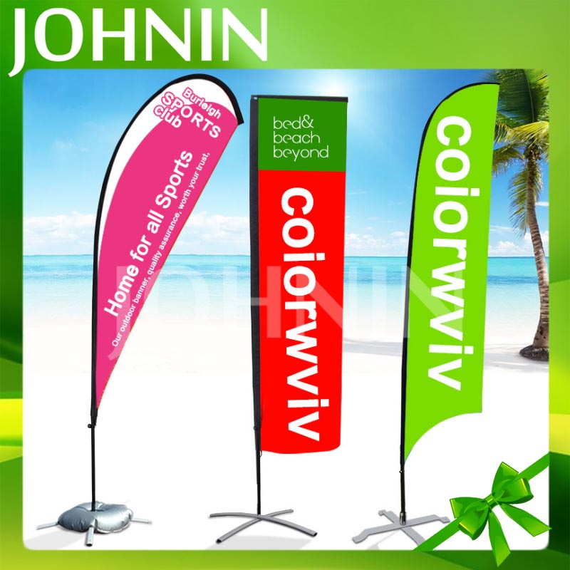 Polyester Durable Feather Flag Advertising exhibition event outdoor Flying Beach Flag Stand