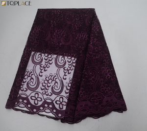 Burgundy color nigerian lace fabric 2019 embroidery french lace fabric african tulle lace with stones for party