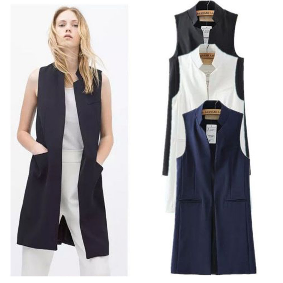 676b166b1f132a 2019 Women S Mandarin Collar Open Front Long Vest Waistcoat Cardigan Blazer  Sleeveless Jacket Outfit Women Long Business Suit Vest From Yukime