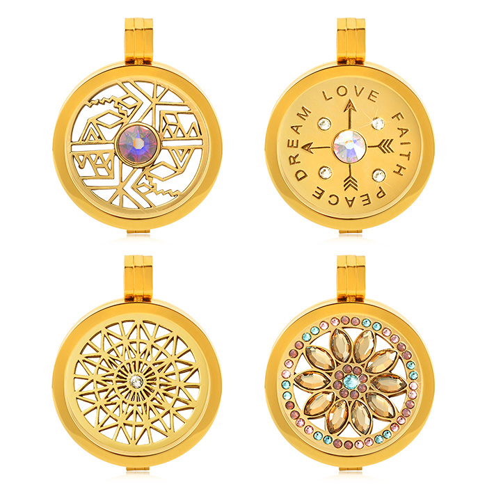 New Inventions In China Stainless Steel Window Plate Gold Coin Locket