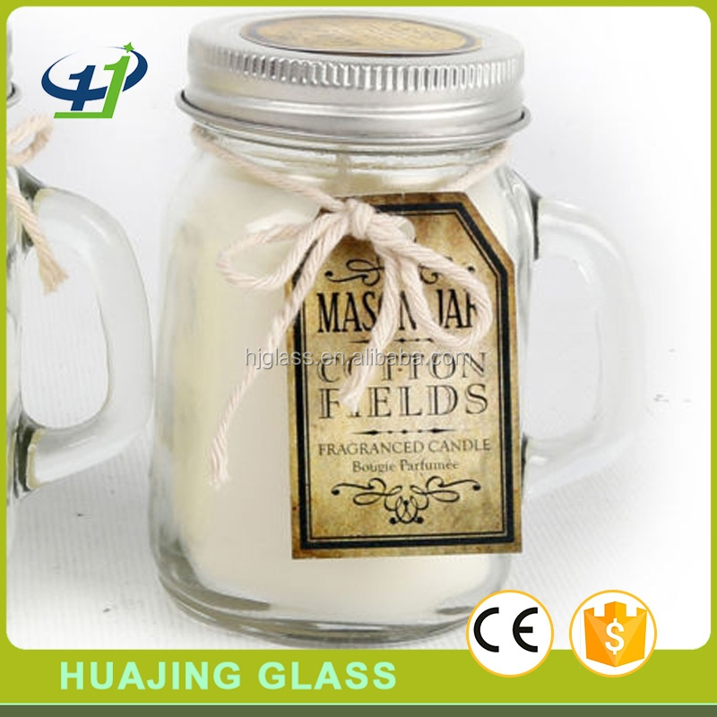 wholesale 120ml small mason jar 4oz glass candle jar with airtight lid and handle