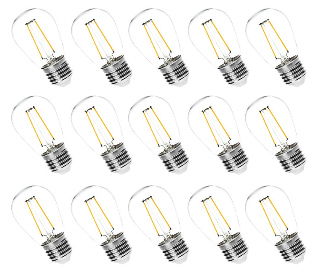 Hyperikon 2W LED S14 Filament Bulbs, Bulbs Only, Dimmable, Medium Base (E26), UL- Listed, Vintage Edison Great For String Lights, Commercial Lighting, Patio, Wedding, Events - (15 Pack)