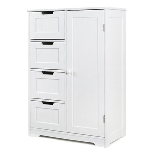 Bathroom Floor Cabinet, Wooden Free Standing Storage Cabinet Side Organizer Unit with 4 Drawer and 1 Cupboard, White