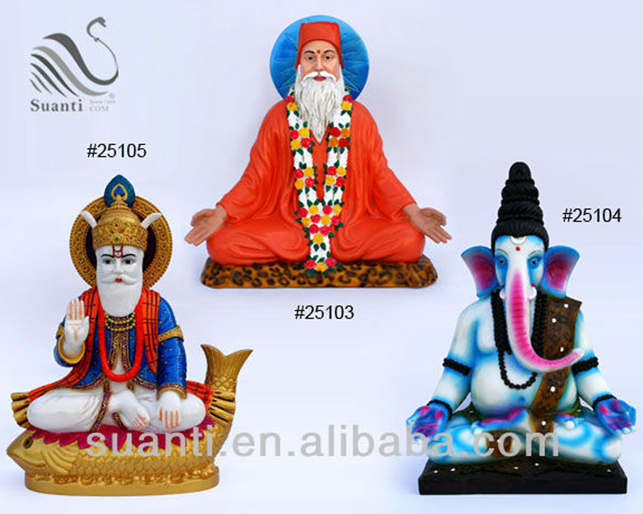 Blue White and Orange Polyresin India Buddha Collection - Modern Ganesh Statue for Home Decor