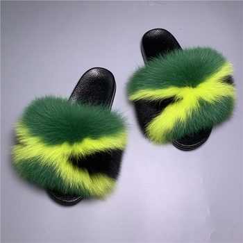 Factory Wholesale Customer Fluffy Genuine Real Fox and Raccoon Fur Fuzzy Fur Women Slippers Sandals