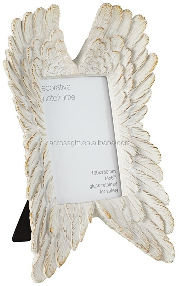 hot sale personalized handmade color painted home decorative poly resin Angel Wings Photo Frame
