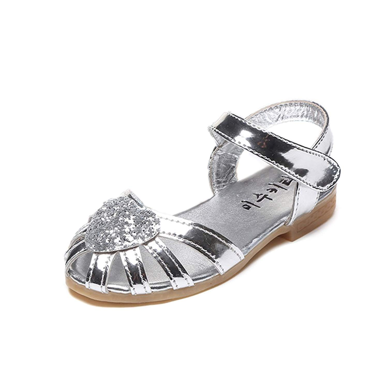 YIBLBOX Kids Girls Sandals Ballet Flat Shoes Princess Dress Wedding Shoes for Toddler Kids