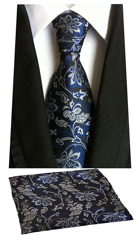 a477581c17f9 Get Quotations · MOHSLEE Men's Blue Floral Formal Suit Tie Handky Feast Necktie  Pocket Square Set