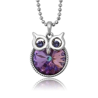 45090 Xuping lucky animal owl necklace, Crystals from Swarovski rhodium color gold plated jewelry