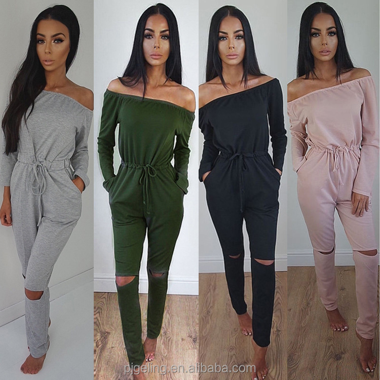 In Stock Cheap Price Pure Colour Off The Shoulder Long Sleeve Women Jumpsuits