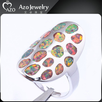 Fashion 925 Sterling Silver Orange Fire Opal Stone Ring Designs For