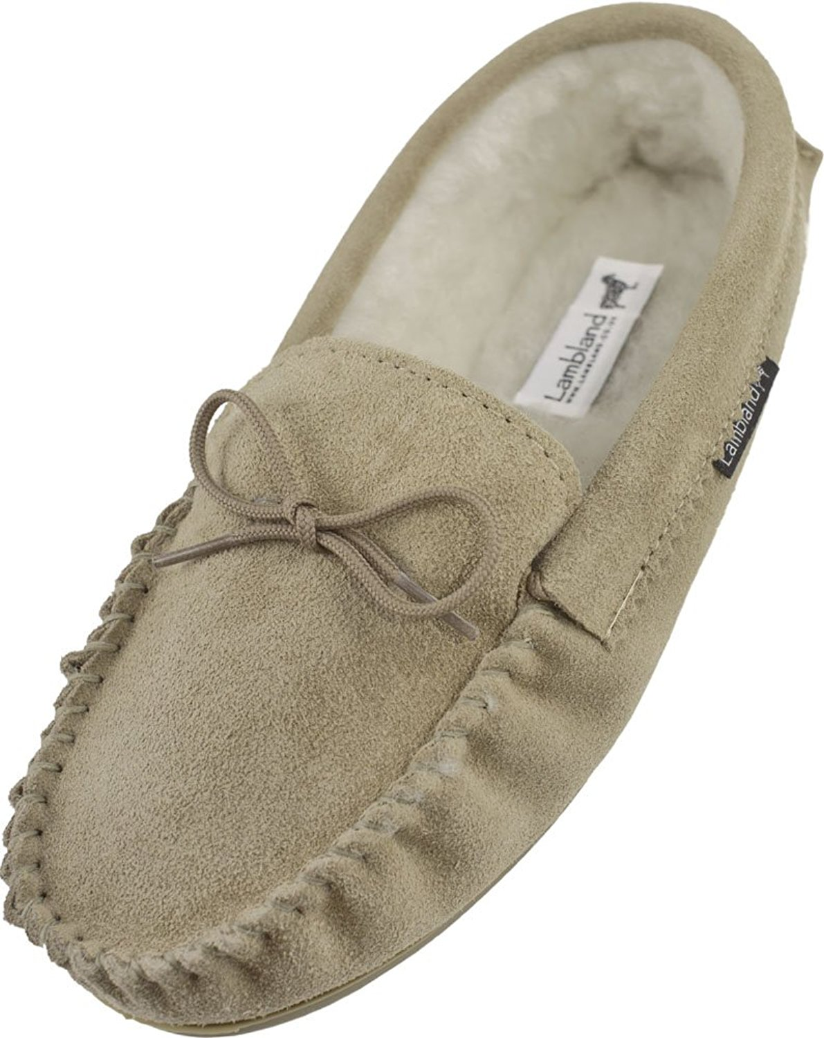 898935d9317 Get Quotations · Lambland Mens Genuine Suede Sheepskin Moccasin Slippers  with Hard Wearing Sole - Navy
