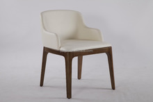High quality modern white leather low back dining chairs with arms