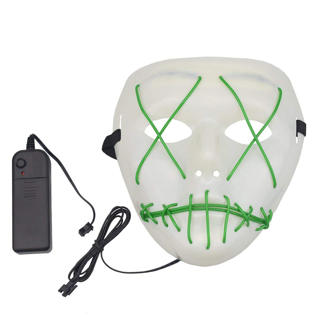 Halloween Scary Mask, Halloween Cosplay Led Costume Mask EL Wire Light Up Mask for Halloween, Festival Parties (Green)
