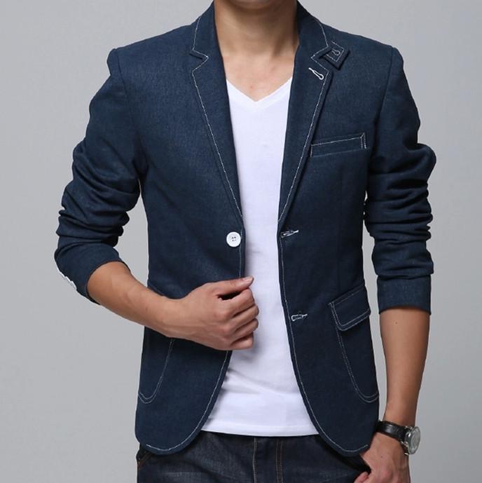Деним пиджак мужчины приталенный Fit синий джинсы куртка Homens Jaqueta пиджак человек пальто пиджаки м-xxxl XXXXL 5XL