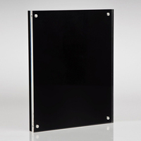 rectangular lucite paper weight block acrylic photo frame with black base