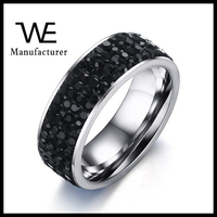 Professional Factory Luxury Stainless Steel Pave 4 Rows Black Stone Rings For Women