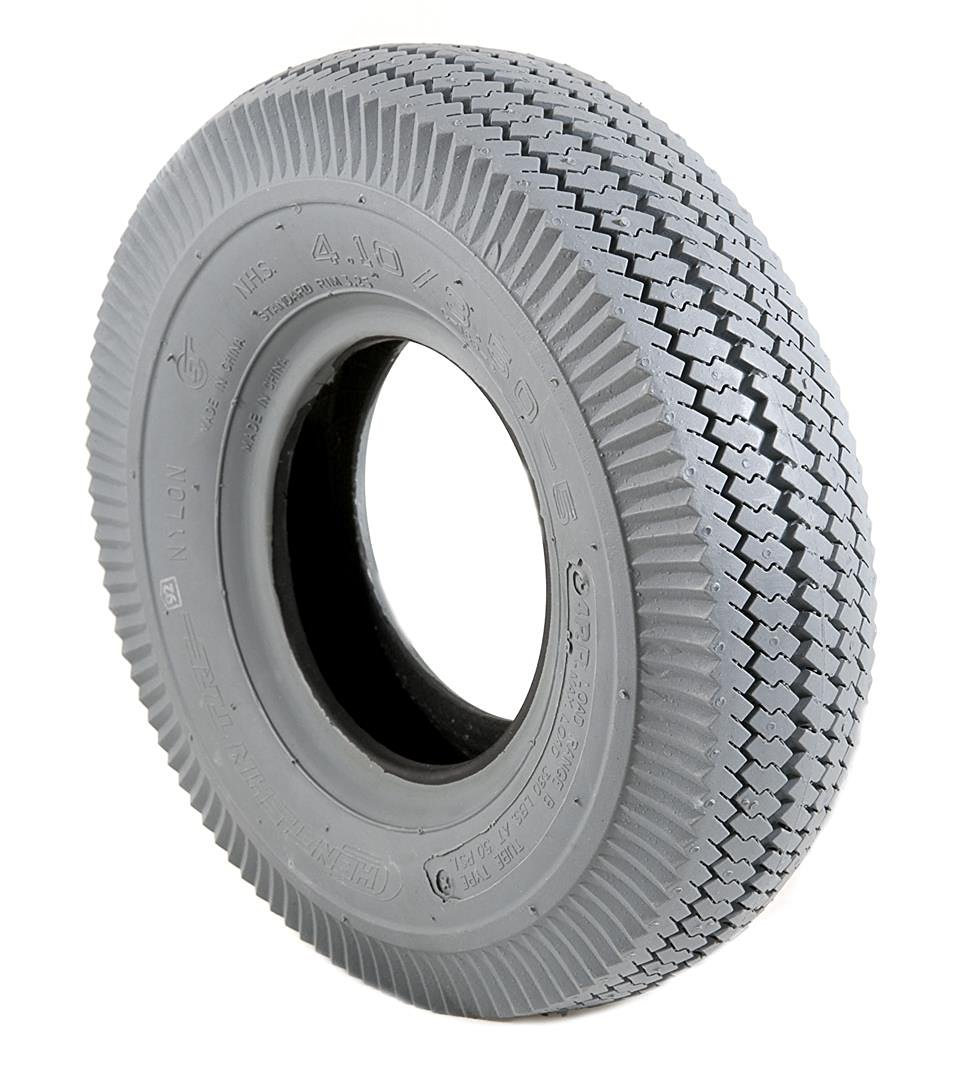 2 Grey Air Filled Pneumatic Block C189 Tread Mobility Scooter Tyres 410/350 x 5
