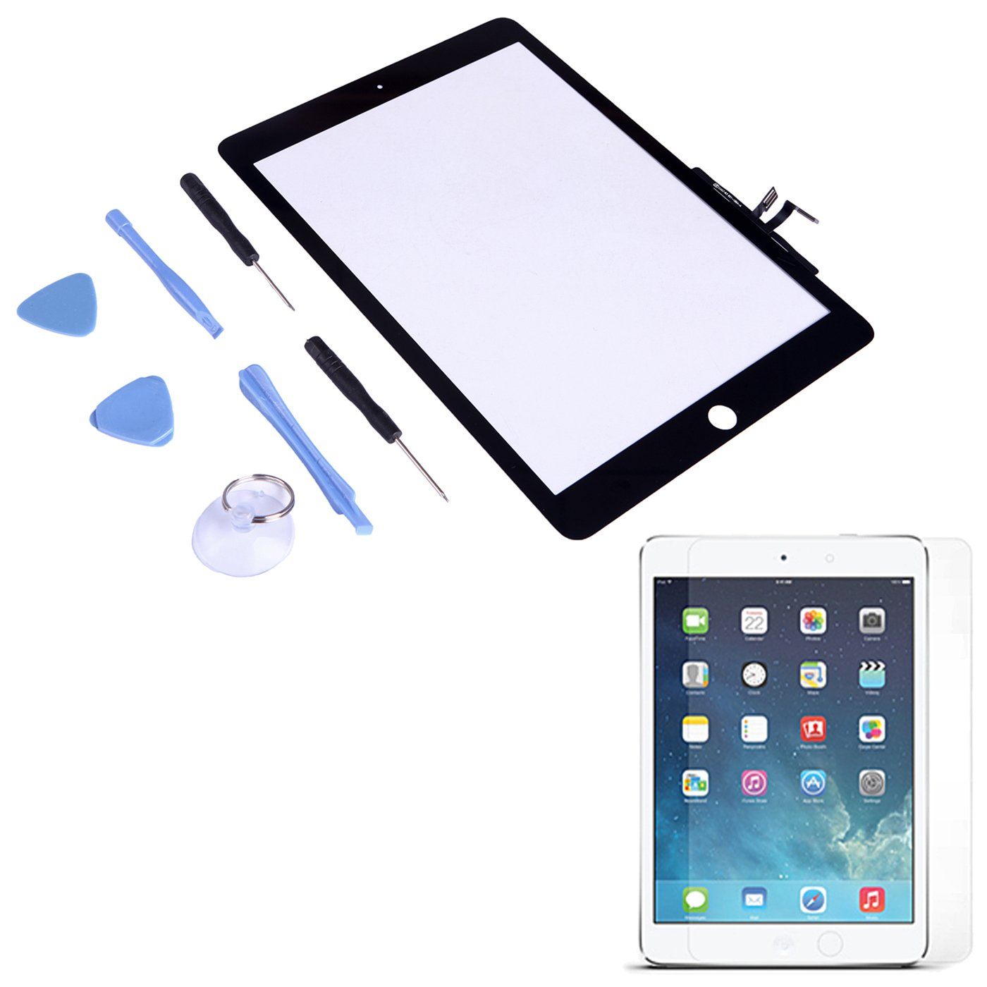 HDE Replacement Front Glass Digitizer Touch Screen for iPad Air + Tool Kit + Adhesive Tape + Screen Protector (Black)