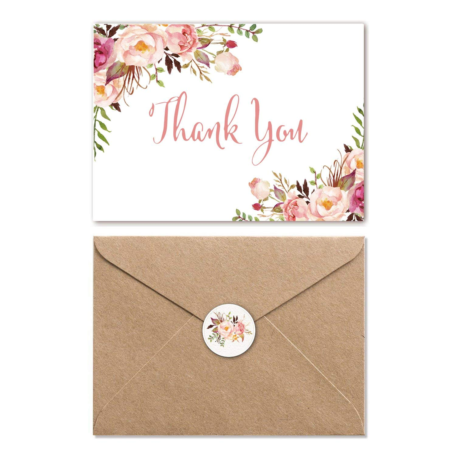 Get Quotations Thank You Cards With Envelopes Watercolor Fl Note 4 X 6 In