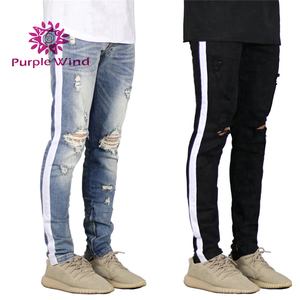 New Style Pants Men Skinny Streetwear Ripped/Distressed Hip Hop Jeans Pent For Man