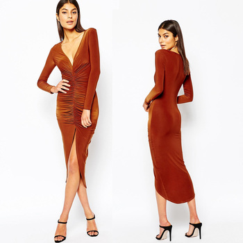 2015 Elegant sexy deep V neck velvet dresses wholesale autumn fashion  evening dress OEM tight long 1ded5275db5c