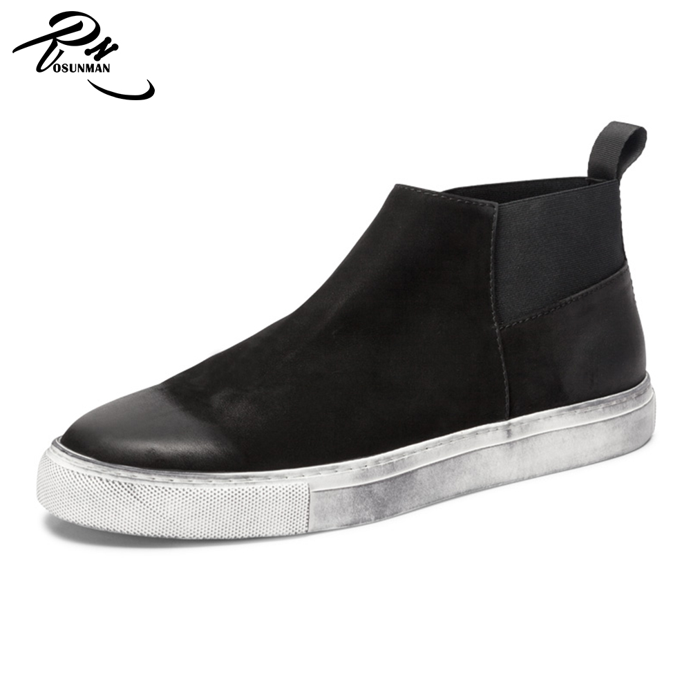 nubuck ankle shoes High for neck the casual men black sneakers fashion on slip 00U5rq