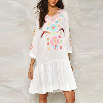 Custom clothing midi cotton white boho mexican white embroidered dress