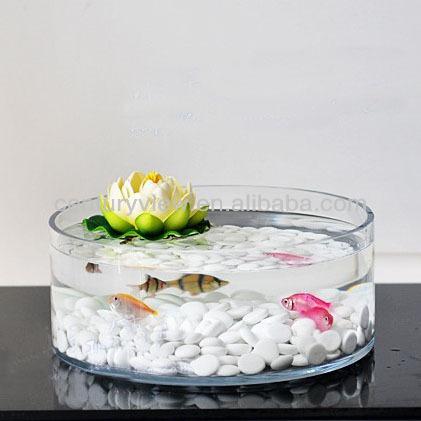 Ronde decoratieve grote groothandel glas vis kom gebruikt for Large glass fish bowl