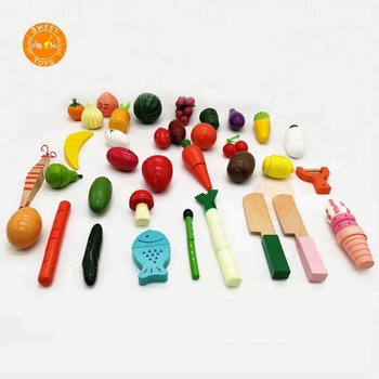 Superb Cutting Fruit Vegetables Food Play Food Set Wooden Magnetic Pretend Kitchen Toys With Basket For Kids Children View Wood Play Kitchen Set Sweet Home Interior And Landscaping Ymoonbapapsignezvosmurscom