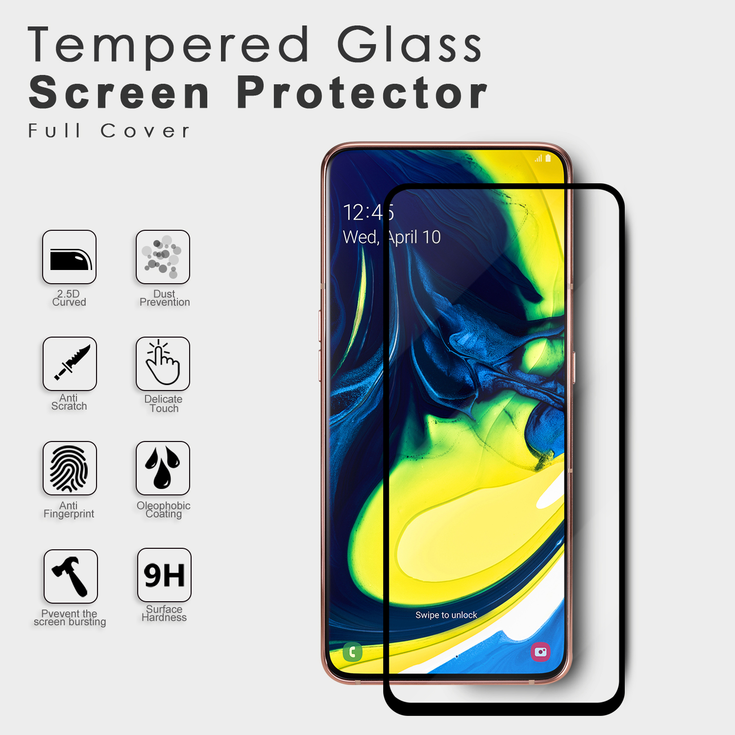 Wholesale Japanese Tempered Glass Film 0.33mm Bubble Free Anti Fingerprint Screen Protection For Samsung Galaxy A80 A90