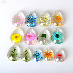 DIY fragrance jewelry crystal glass rice pendants for necklace real flower and four leaf clover in crystal pendant