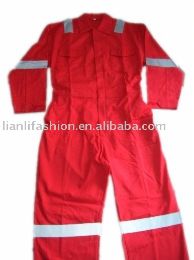 mens red fr coverall with reflective tape