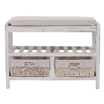 Vintage Wood Storage Bench With Shelf / Shabby  Chic Bench With Maize  Baskets /vintage