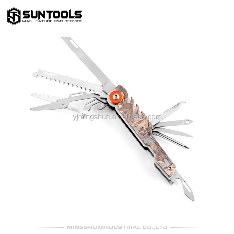 Multi-function made in stainless steel and coating handle folding pocket knife