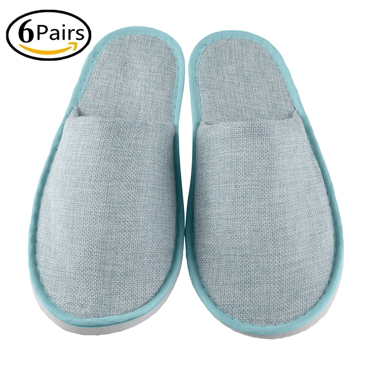 Xiaofeisi Disposable Guest Slipper Closed Toe Home Guest Slippers for Adult 6 Pairs Non-Skid Disposable Deluxe Padded Sole for Extra Comfort Lnen Blue