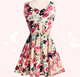 Cheap summer Print Floral Chiffon casual short fat women dress