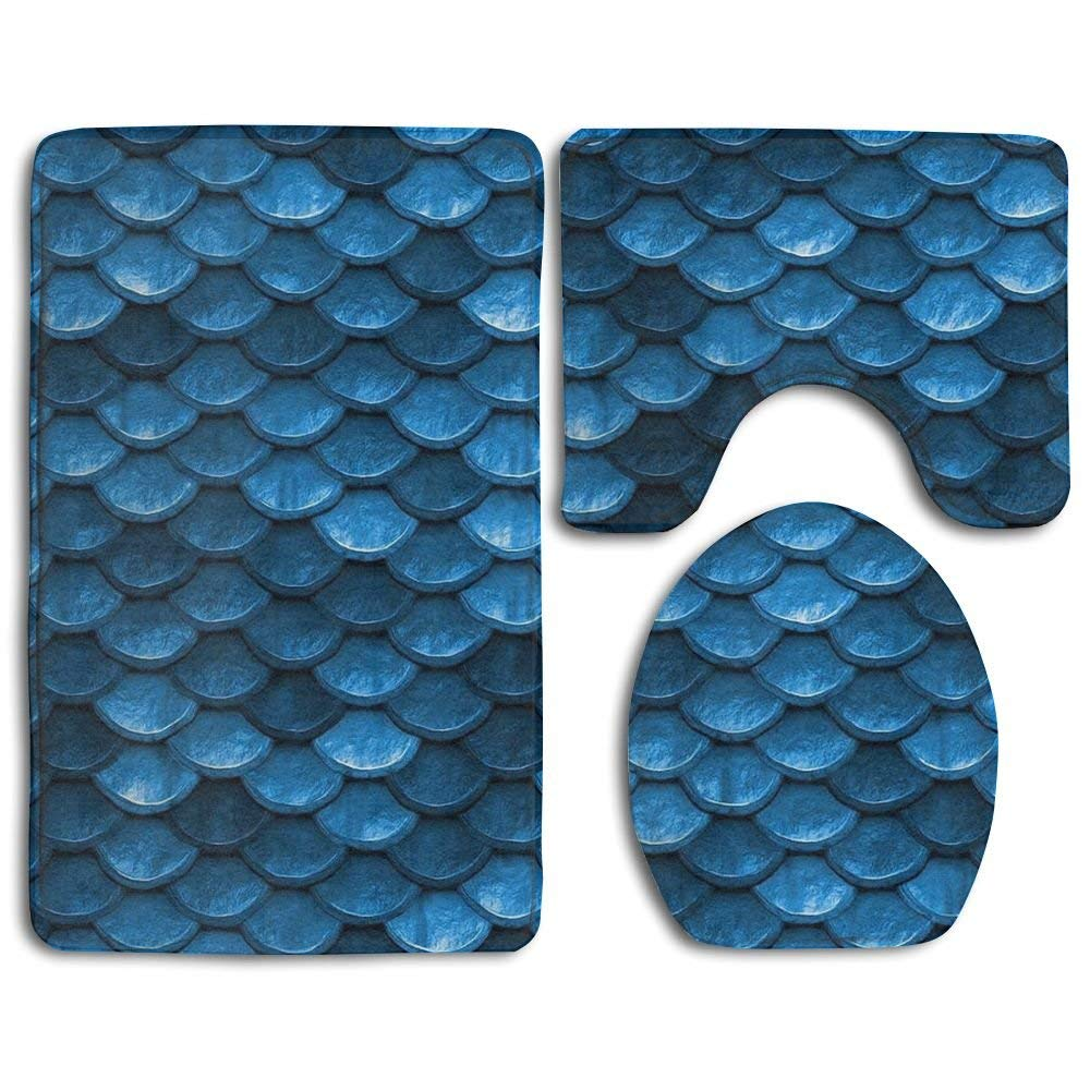 HOMESTORES 3 Piece Bathroom Rug Set - Bahama Sea Blue Mermaid Fish Scales Skidproof Toilet Bath Rug Mat U Shape Contour Lid Cover For Shower Spa