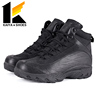 black genuine leather army military combat boots