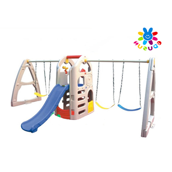 Kids swing and slide sets high quality outdoor play equipments plastic swing sets for toddlers
