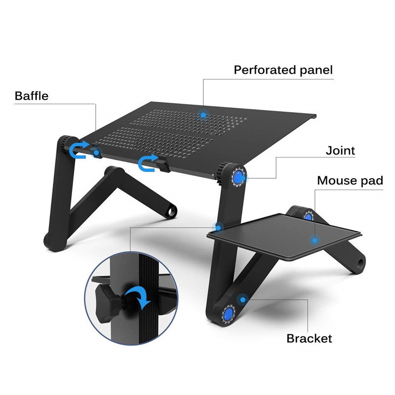 High Quality Laptop Folding Table Desk Stand Aluminum Desk Riser With Large Cooling Fan And Mouse Pad Side Portable Adjustable
