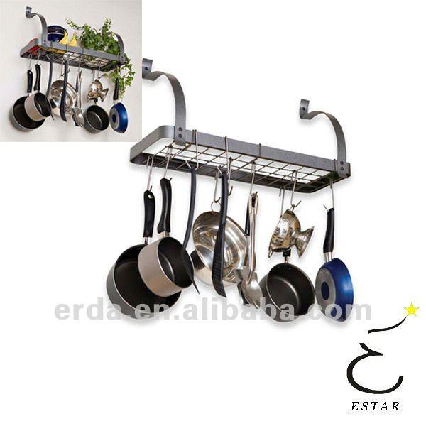 GOTOTOP Metal Soporte Montado en Pared para Pan Maceta Estante Colgante con 10 Ganchos para Ollas Cacerola Sartenes de Cocina Organizador de Almacenamiento de Cocina