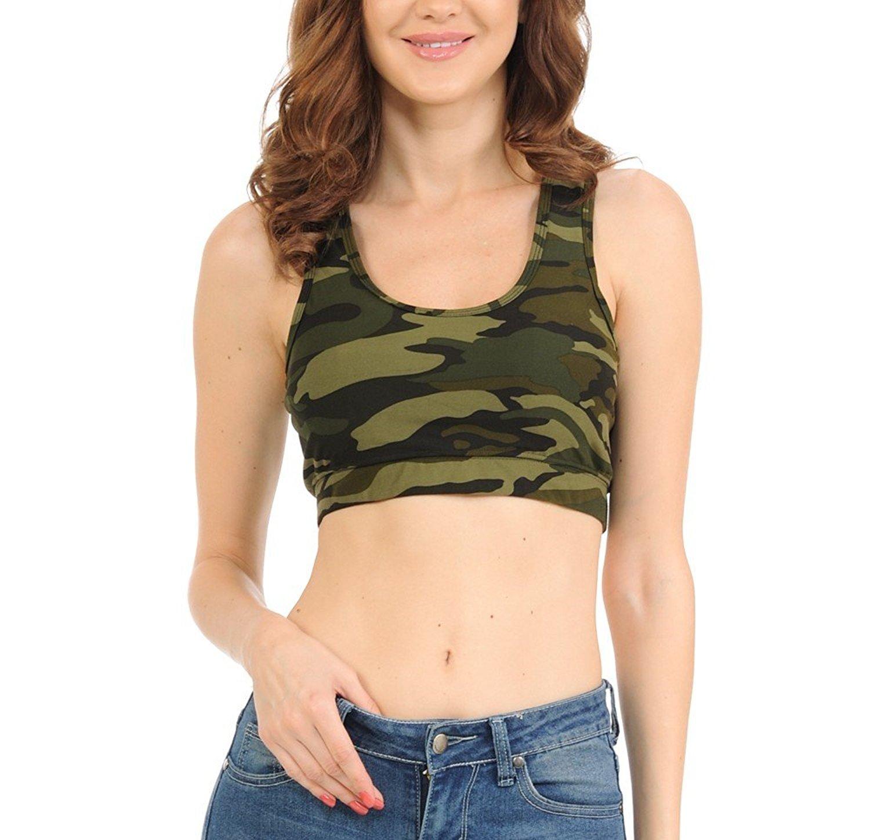 da382bdba0 Get Quotations · bluensquare Racer Back Sports Bra For Women  Camouflage Removable Pad Yoga Gym Fitness Crop Top