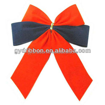 Red And Blue Velvet Butterfly Ribbon Bow Ties For Christmas Tree ...
